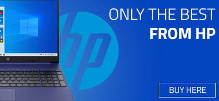 HP banner with half a HP laptop explaining we stock only the best