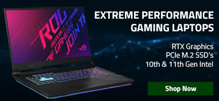Gaming laptop banner showing Asus ROG laptops with specifications on electronic background