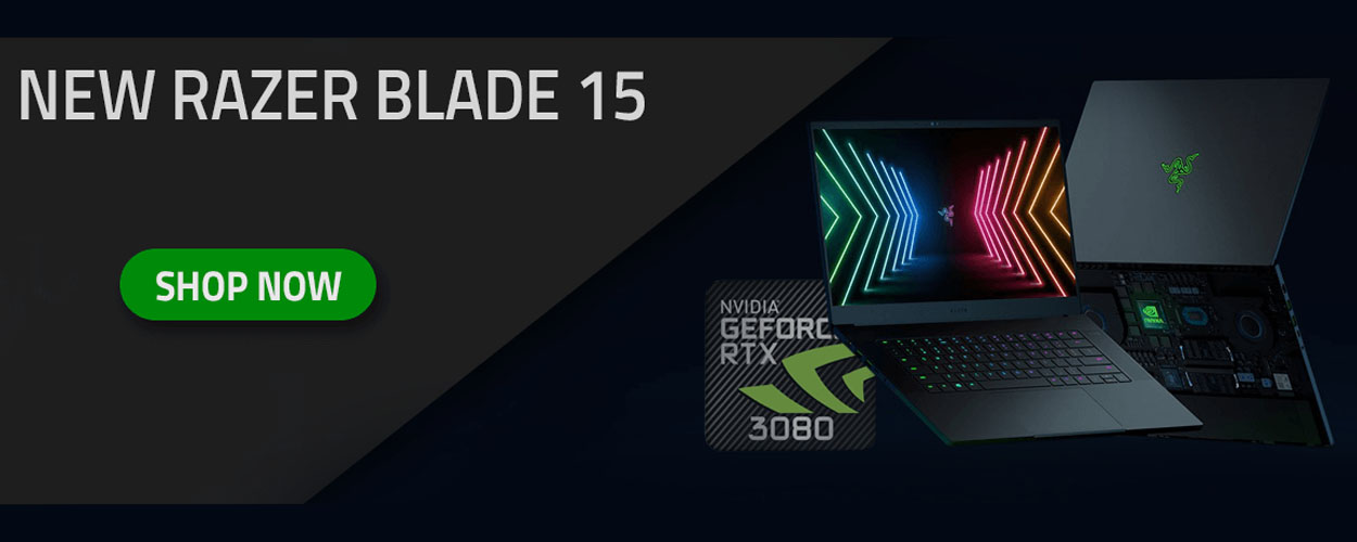 Razer Blade 15 Laptop Mobile Banner with RTX 3080 GPU