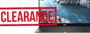 Clearance banner showing Dell XPS laptop with large red clearance written on top