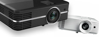 Projector banner with short through long throw projectors, mainly from Optoma